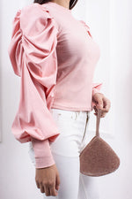 Ema Pale Pink Extreme Puff Sleeve Ribbed Top-Missrepresent