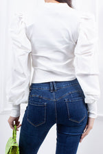 Ema White Extreme Puff Sleeve Ribbed Top-Missrepresent