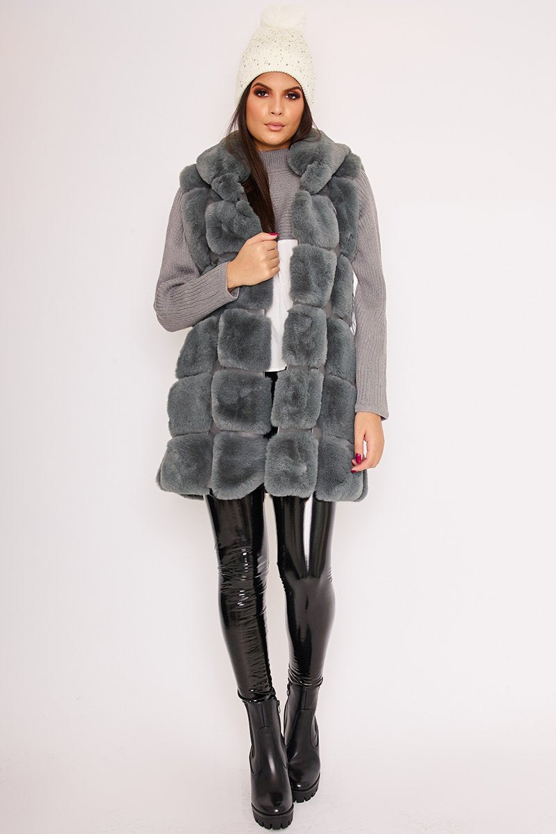 Faye Grey Thick Faux Fur Hooded Gilet-Missrepresent