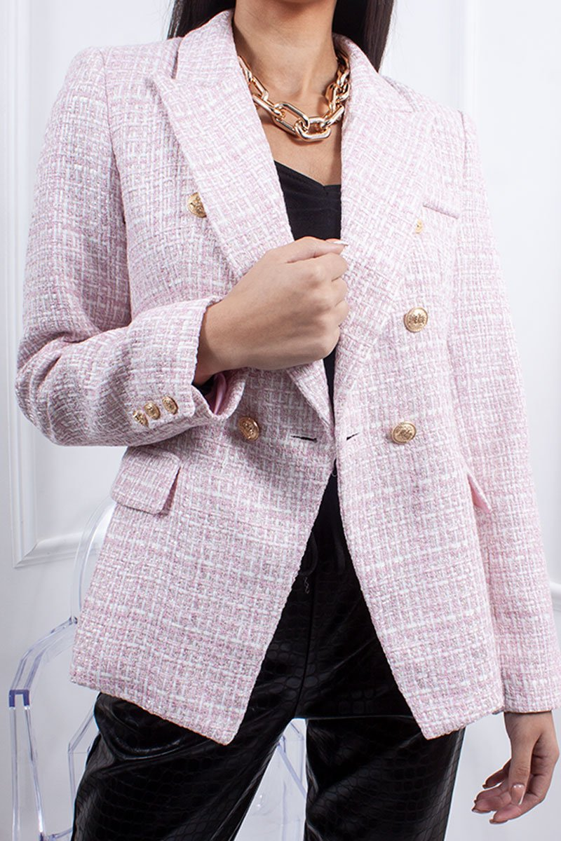 Florence Pale Pink Tweed Double Breasted Blazer-Missrepresent