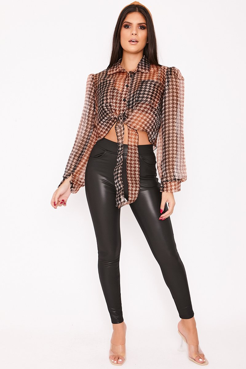 Halle Brown Cropped Dogtooth Puff Sleeve Shirt-Missrepresent