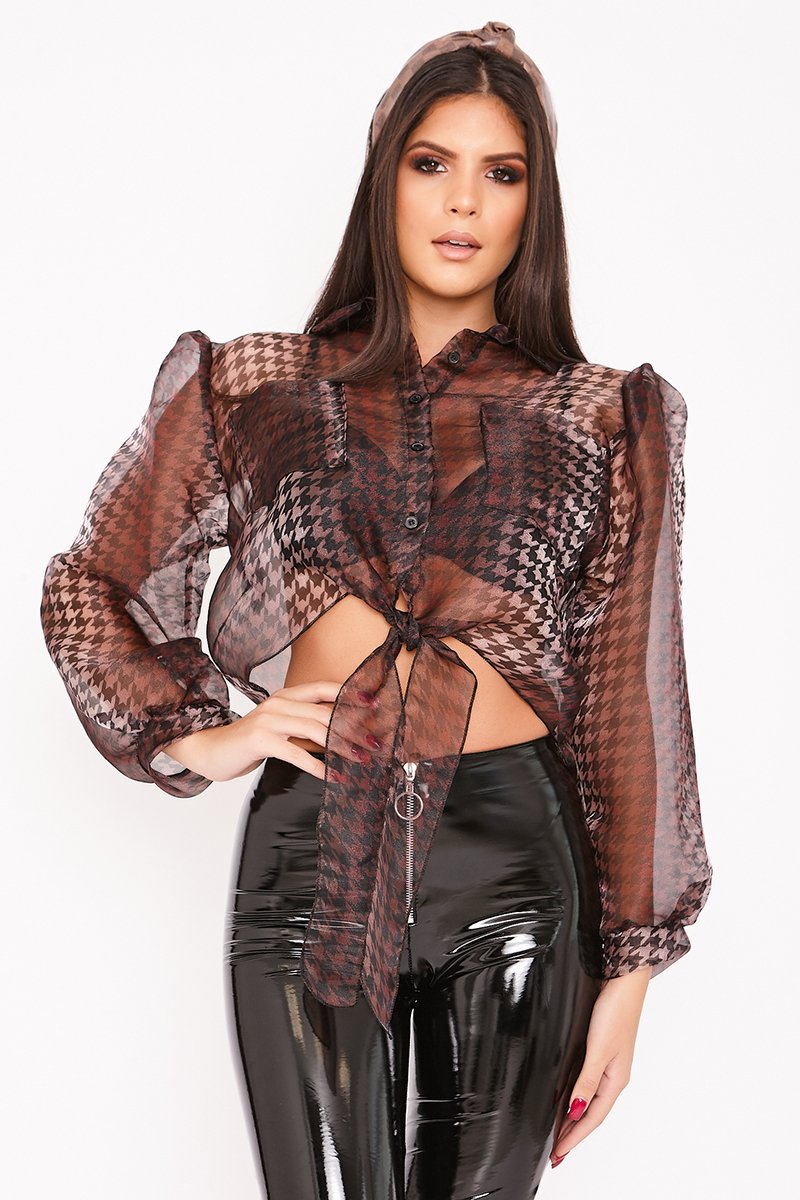 Halle Dark Brown Cropped Dogtooth Puff Sleeve Shirt-Missrepresent