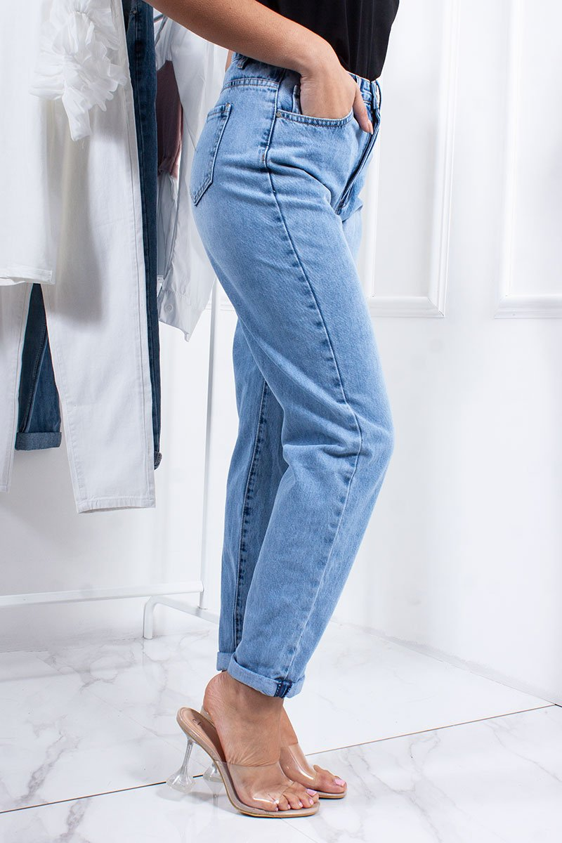 Harley Light Blue Wash Denim Mom Jeans-Missrepresent
