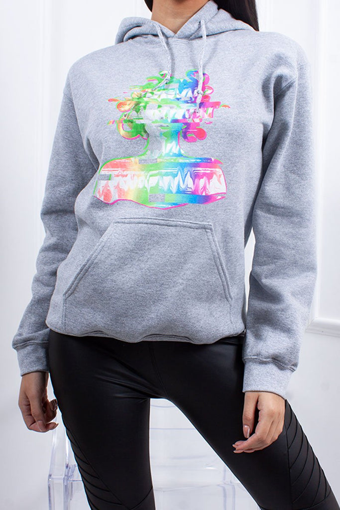 Hollie Grey Multi-Colour Head Print Hoodie-Missrepresent