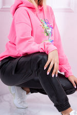 Hollie Neon Pink Multi-Colour Head Print Hoodie-Missrepresent