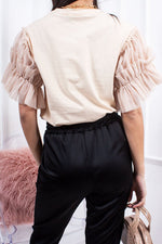 Hope Beige Ruched Mesh Puff Sleeve Top-Missrepresent