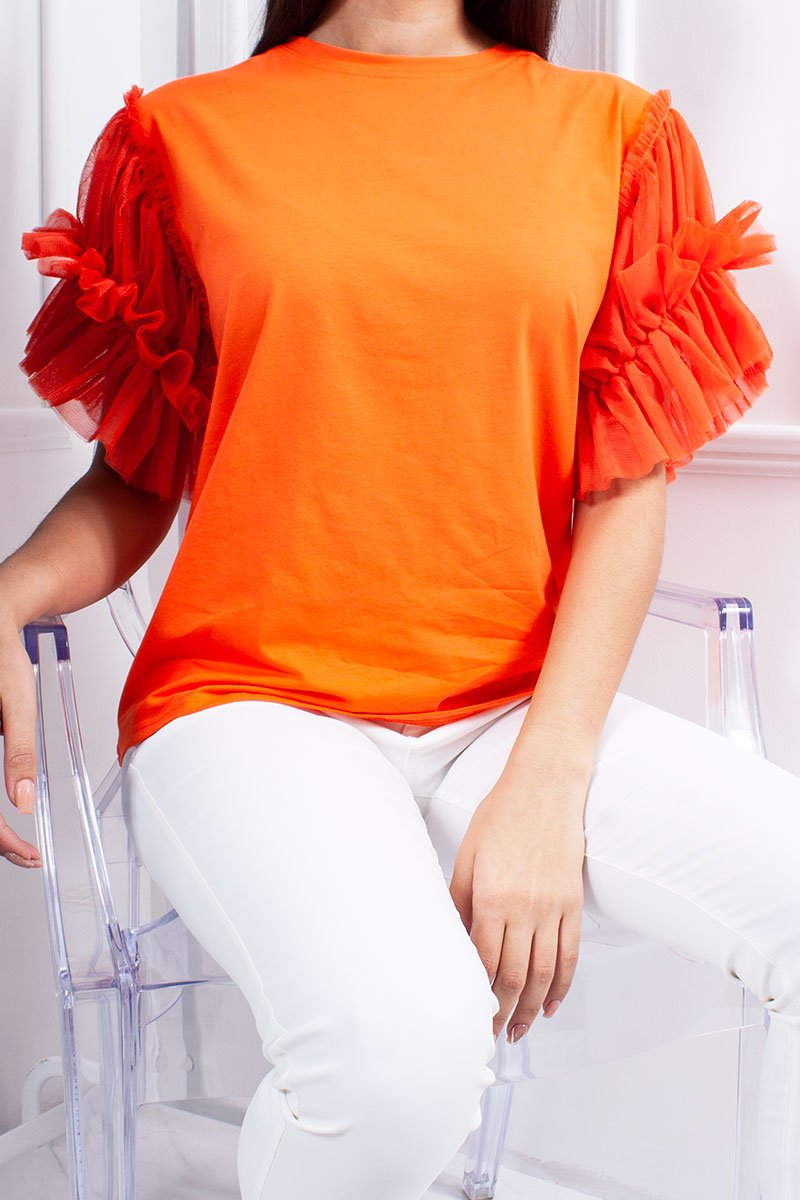 Hope Orange Ruched Mesh Puff Sleeve Top-Missrepresent
