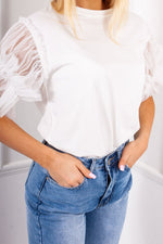 Hope White Ruched Mesh Puff Sleeve Top-Missrepresent