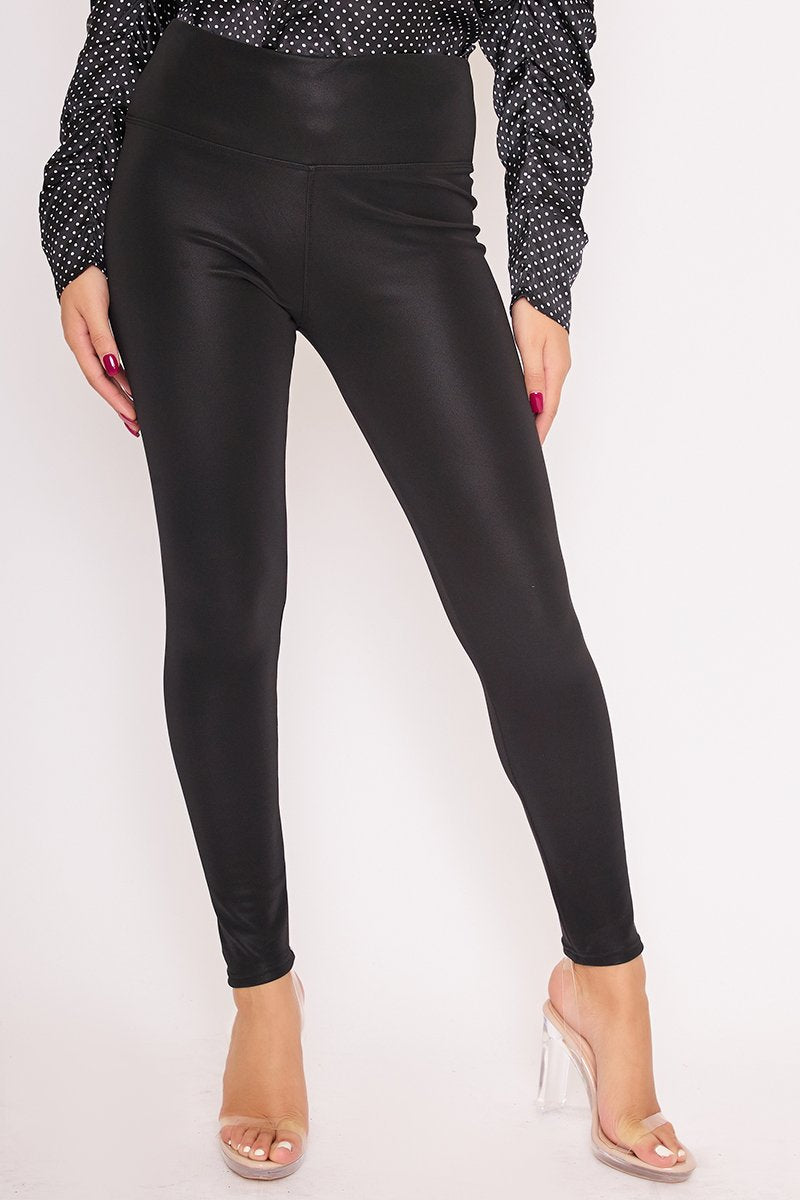Ida Black Faux Suede High Waisted Leggings-Missrepresent