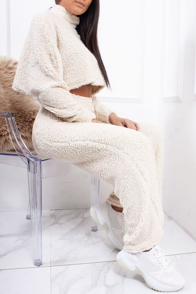 Jessi Cream Cropped Borg Teddy Wide Leg Co-Ord Lounge Set-Missrepresent
