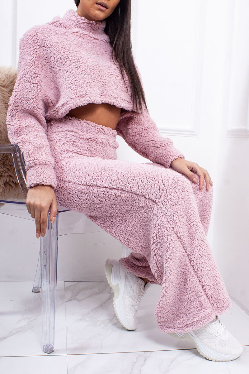 Jessi Pink Cropped Borg Teddy Wide Leg Co-Ord Lounge Set-Missrepresent