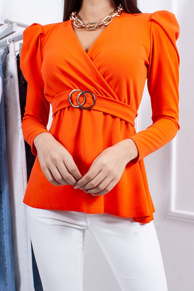 Jolie Orange Ring Detail Belted Tie Back Top-Missrepresent