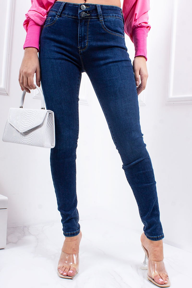Joy Mid Blue Stretch High Waisted Skinny Jeans-Missrepresent