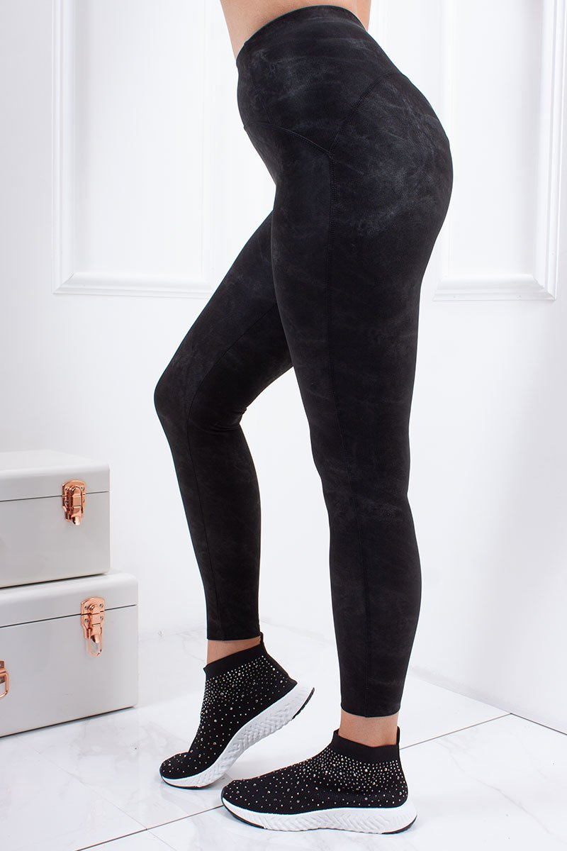 Krissie Black Faux Suede Acid Wash High Waisted Leggings-Missrepresent