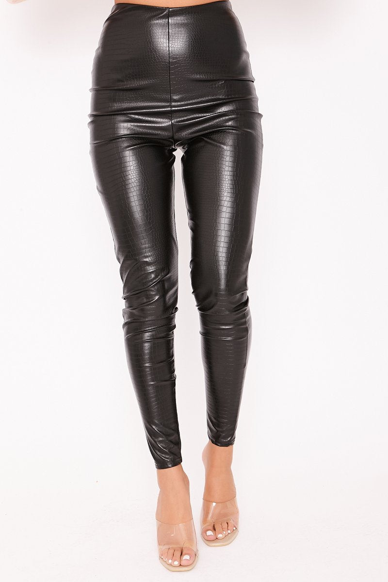 Kylie Black Croc Faux Leather High Waisted Leggings-Missrepresent