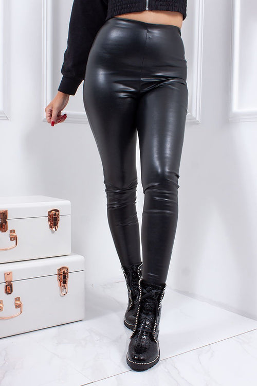 Kylie Black Faux Leather High Waisted Leggings-Missrepresent