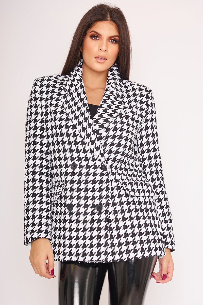Liberty Monochrome Dogtooth Double Breasted Coat-Missrepresent
