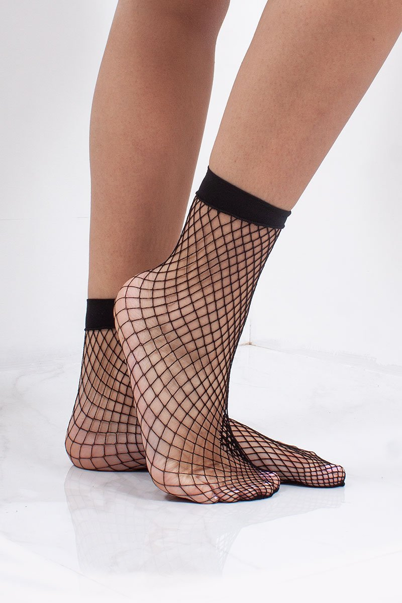 Lorna Black Small Fishnet Socks-Missrepresent
