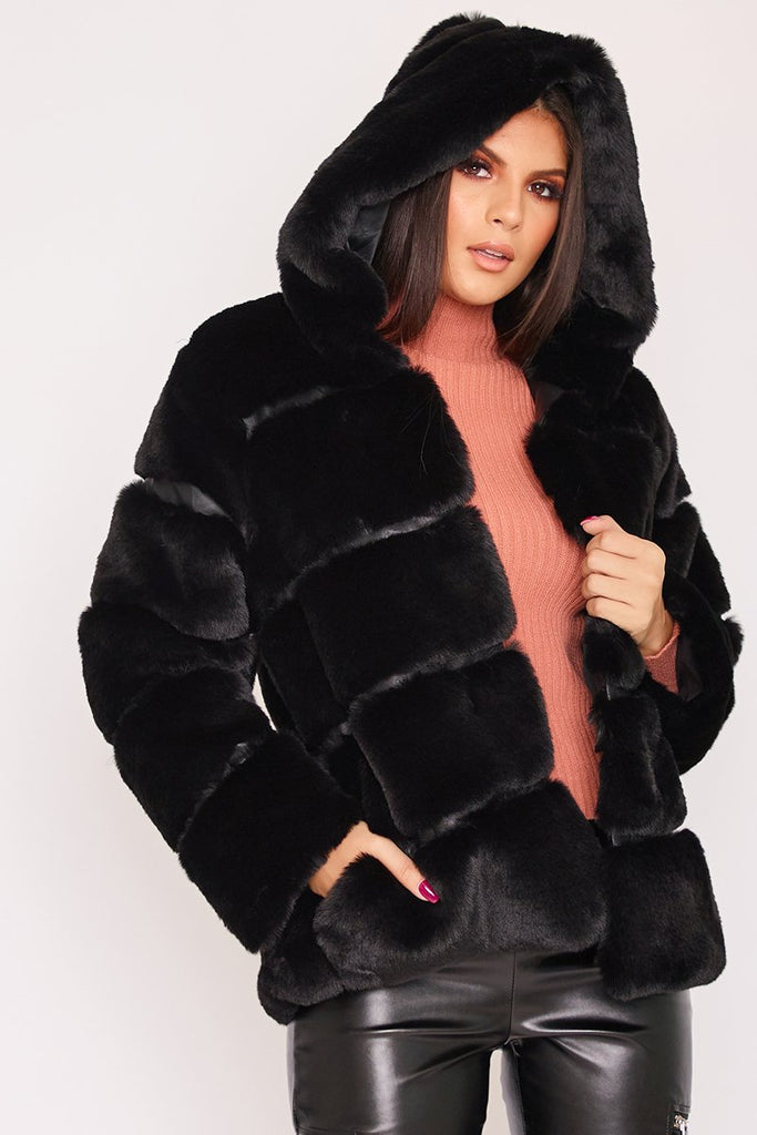 Louisa Black Thick Faux Fur Hooded Coat-Missrepresent