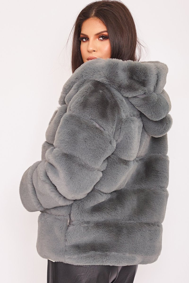Louisa Grey Thick Faux Fur Hooded Coat-Missrepresent