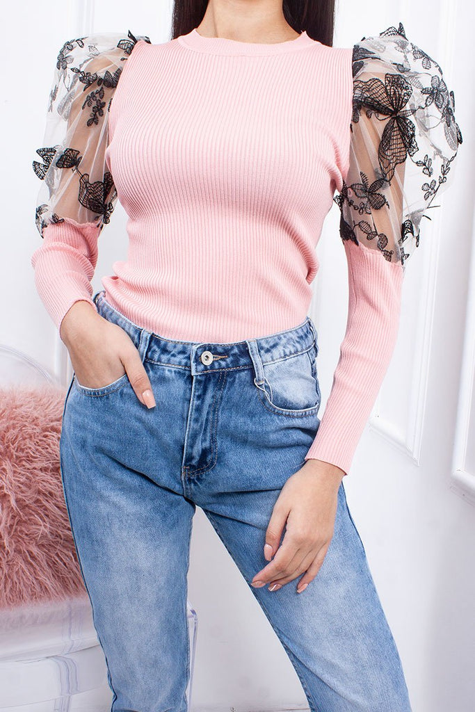 Luna Pink Floral Sheer Puff Sleeve Ribbed Jumper-Missrepresent
