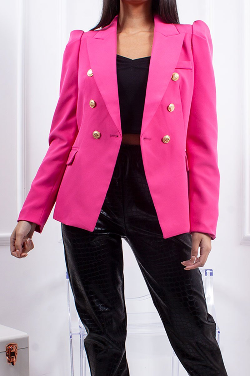 Maisie Fuchsia Puff Sleeve Double Breasted Blazer-Missrepresent