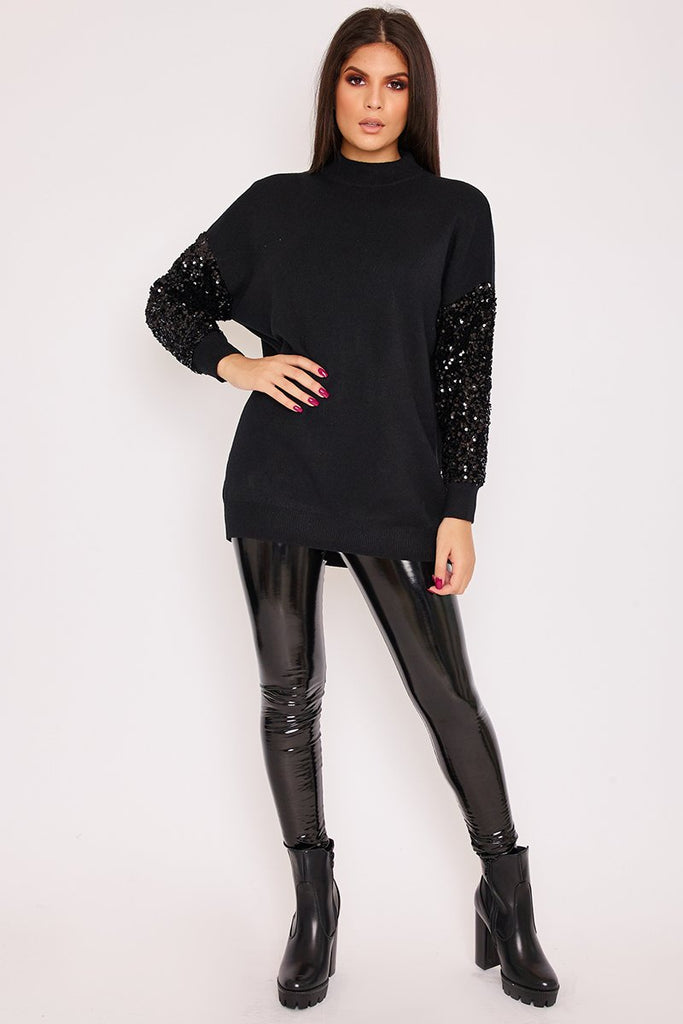 Margo Black Sequin Sleeve Oversized Knitted Jumper-Missrepresent