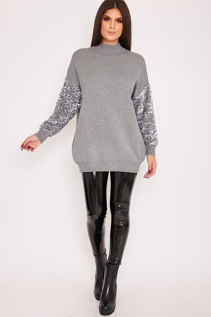 Margo Grey Sequin Sleeve Oversized Knitted Jumper-Missrepresent