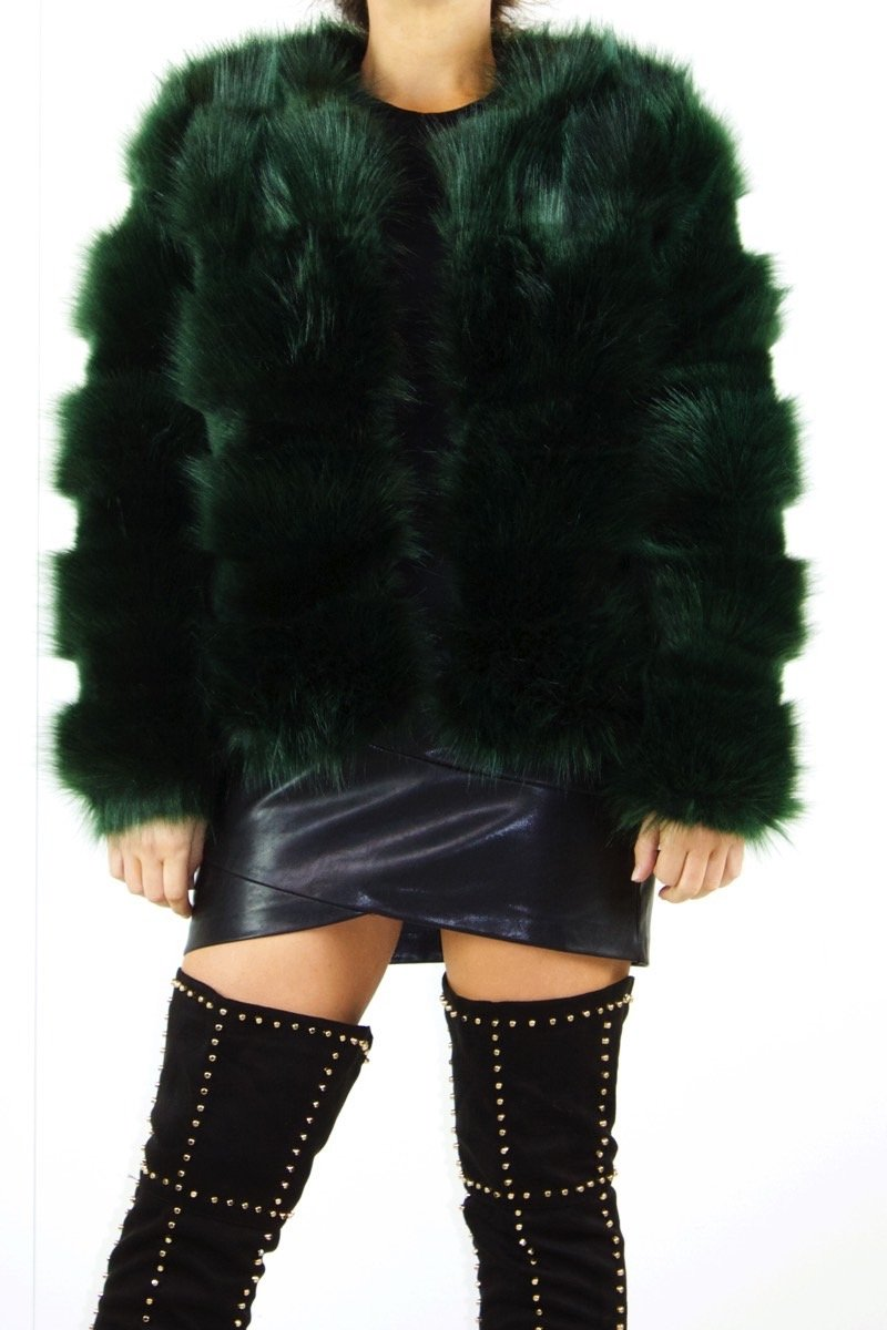 Polly Green Faux Fur Jacket-Missrepresent