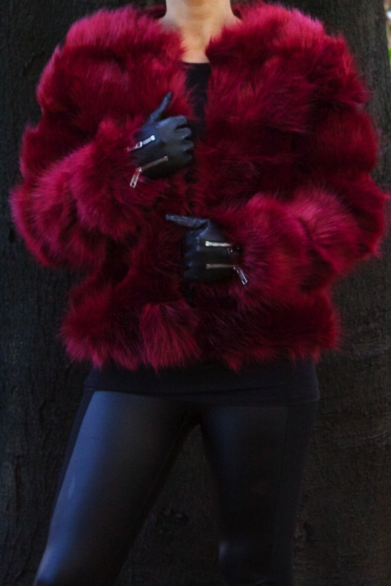 Polly Wine Faux Fur Jacket-Missrepresent