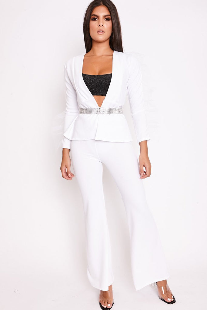 Priya White Mesh Sleeve Jacket & Flared Trouser Set-Missrepresent