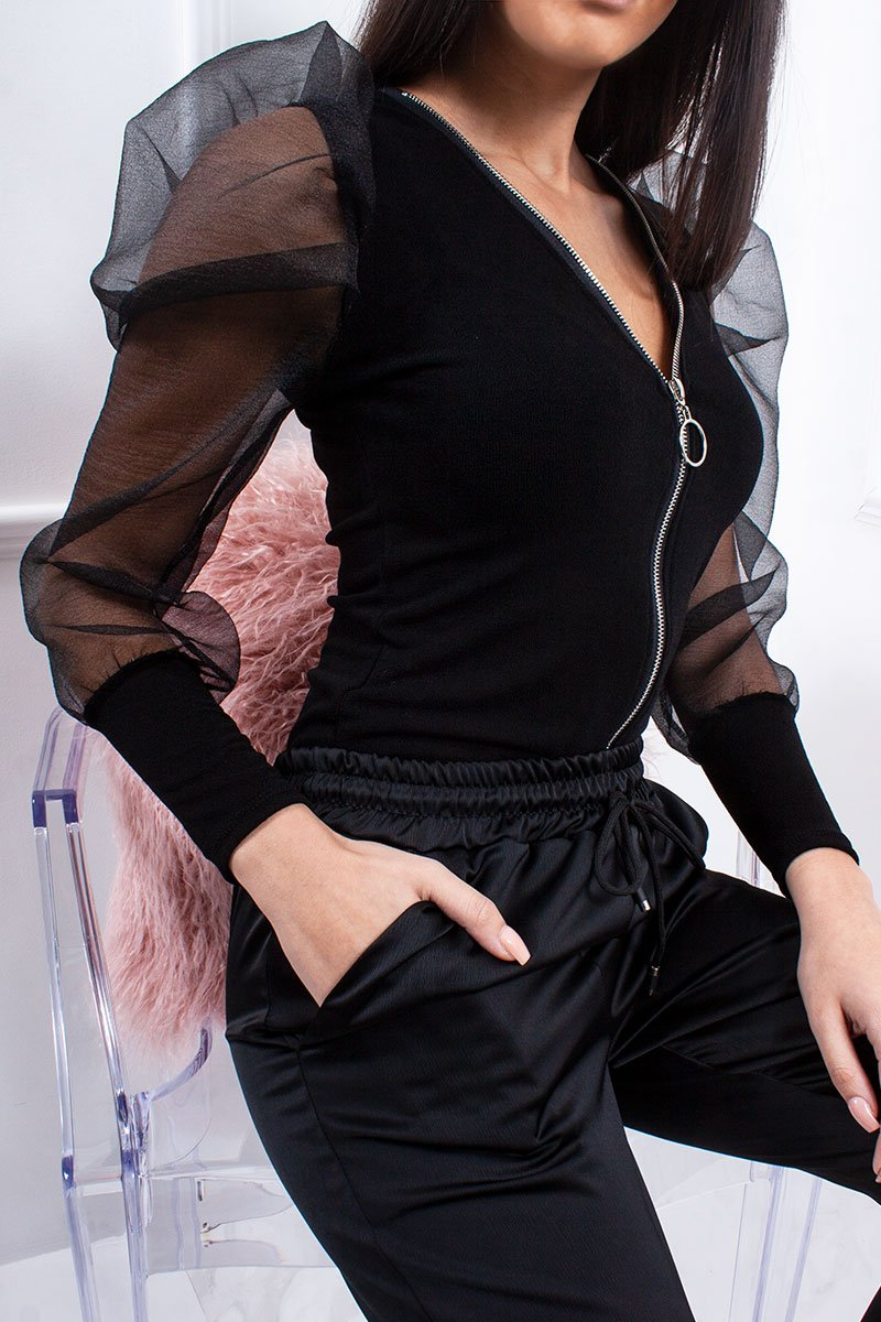 Riley Black Zip Front Sheer Puff Sleeve Top-Missrepresent