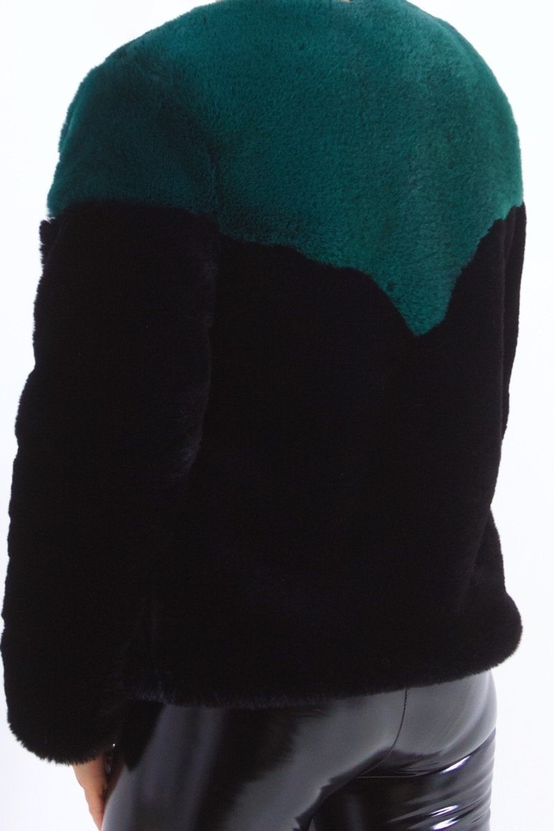 Ruby Black And Green Faux Fur Jacket-Missrepresent