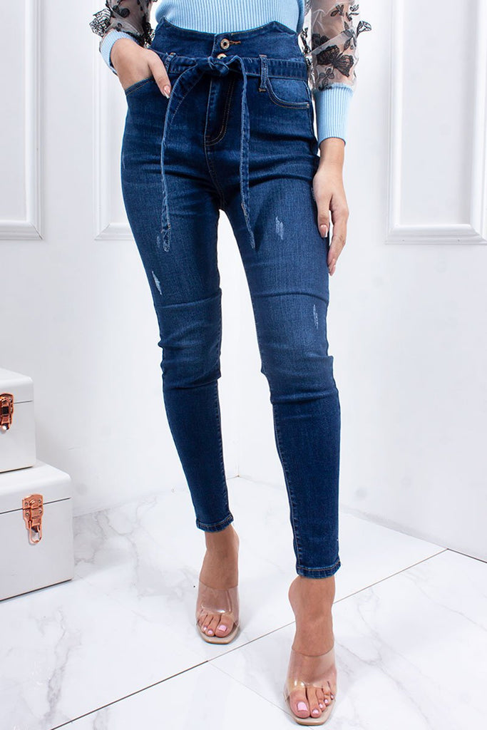 Sarah Mid Blue High Waisted Belted Skinny Jeans-Missrepresent