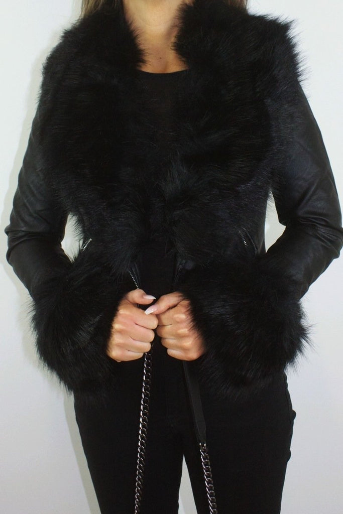 Sasha Black Faux Fur Biker Jacket-Missrepresent