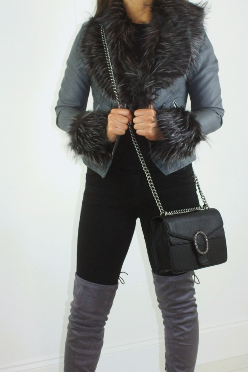 Sasha Grey Faux Fur Biker Jacket-Missrepresent