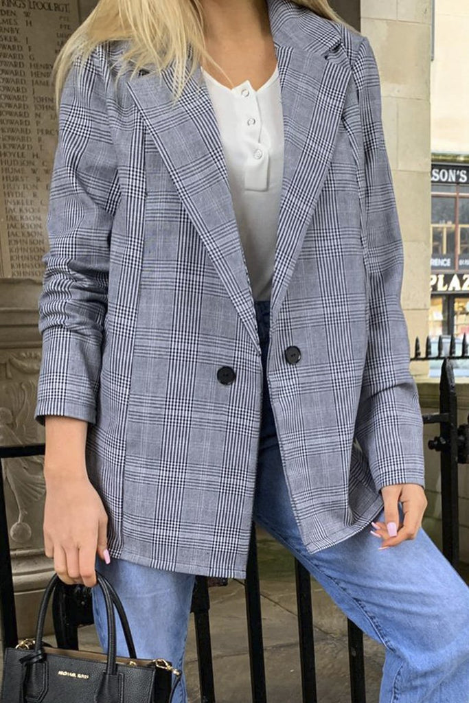 Sophie Grey Checked Oversized Boyfriend Blazer-Missrepresent