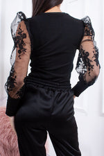 Stella Black Sheer Floral Puff Sleeve Top-Missrepresent