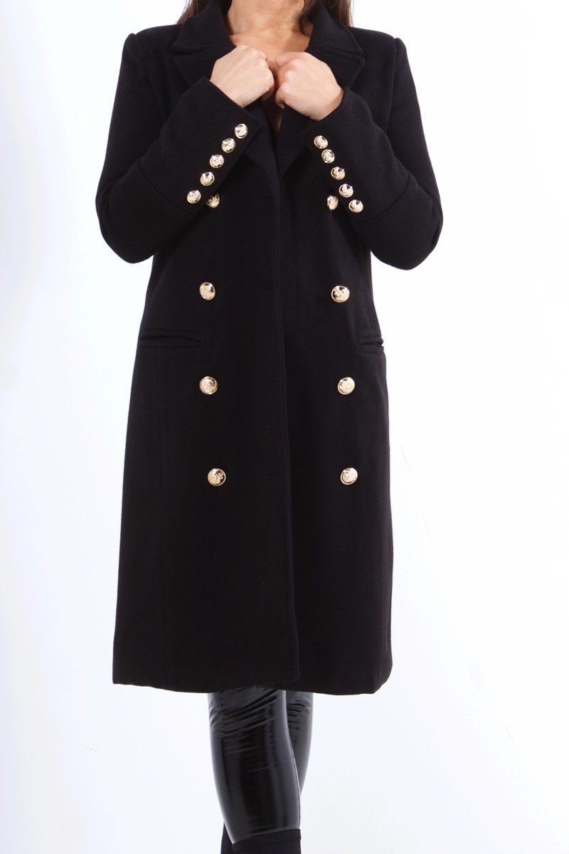 Vienna Black Double Breasted Coat-Missrepresent