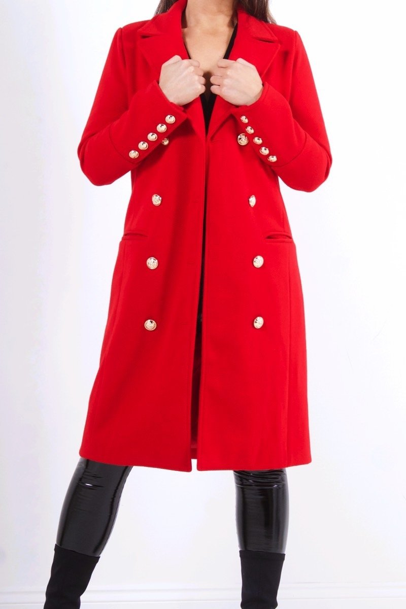 Vienna Red Double Breasted Coat-Missrepresent