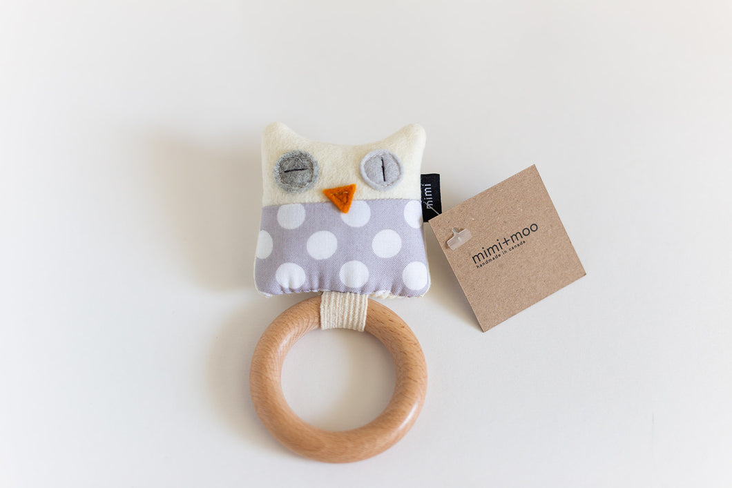 Owl Teether | Grey with White Polka Dots