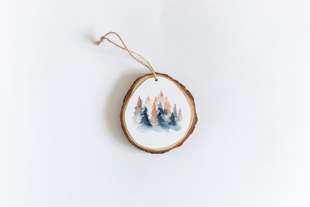 Handmade Watercolor Ornament | Evergreen Trees