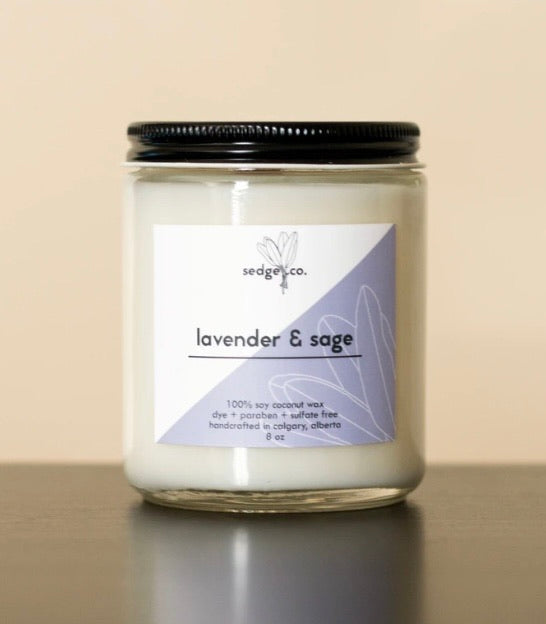 Hand-poured Soy Coconut Wax Candle | Lavender & Sage
