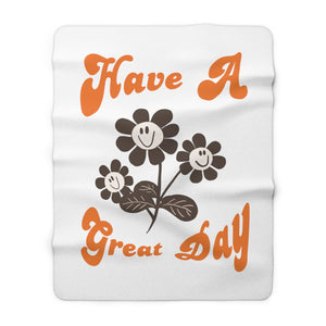 Sherpa Fleece Blanket Have a great day ブランケット スマイル