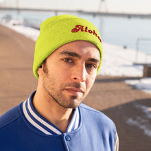 Load image into Gallery viewer, Knit Beanie Aloha -smily face  アロハ スマイルニット帽 刺繍