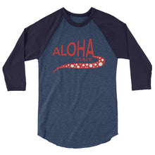 Load image into Gallery viewer, 3/4 sleeve raglan shirt Aloha State-red  ユニセックス  七分袖 アロハステイト Red