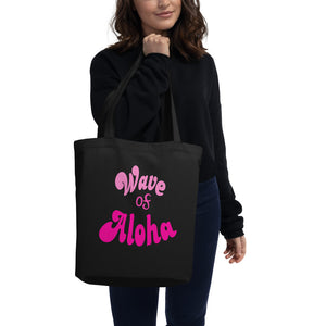 Eco Tote Bag (S)  wave of aloha pink アロハウエーブ ピンク トートバック