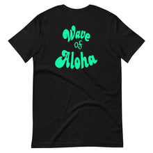 Load image into Gallery viewer, Short-Sleeve Unisex T-Shirt  Wave of Aloha- Green  バックと前プリント アロハグリーン