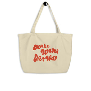 Large organic tote bag Make wave not war 波をトート(L)