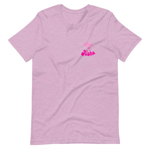 Short-Sleeve Unisex T-Shirt Wave of Aloha- Pink  Front & Back Print バックと前プリント アロハピンク